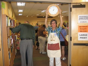 Cindy Seifried indicates the start of the $7 bag sale!